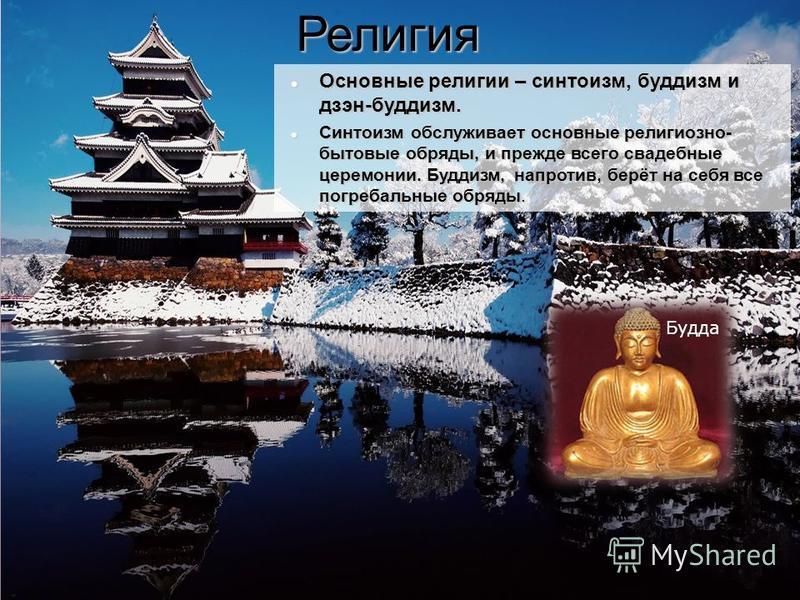 Религия Основные религии – синтоизм, буддизм и дзэн-буддизм. Основные религии – синтоизм, буддизм и дзэн-буддизм. Синтоизм обслуживает основные религиозно- бытовые обряды, и прежде всего свадебные церемонии. Буддизм, напротив, берёт на себя все погре