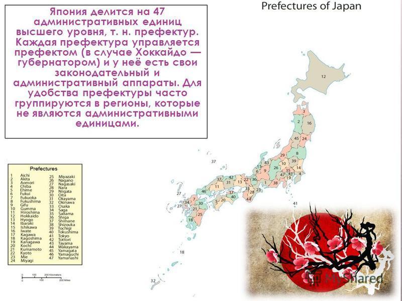 Япония делится на 47 административных единиц высшего уровня, т. н. префектур. Каждая префектура управляется префектом (в случае Хоккайдо губернатором) и у неё есть свои законодательный и административный аппараты. Для удобства префектуры часто группи