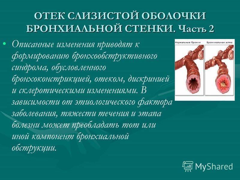 ОТЕК СЛИЗИСТОЙ ОБОЛОЧКИ БРОНХИАЛЬНОЙ СТЕНКИ. Часть 2 Описанные изменения приводят к формированию бронхообструктивного синдрома, обусловленного бронхоконстрикцией, отеком, дискринией и склеротическими изменениями. В зовисимости от этиологического фак