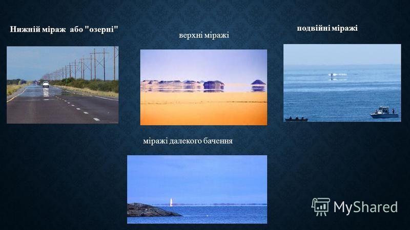Нижній міраж або  озерні  подвійні міражі міражі далекого бачення верхні міражі