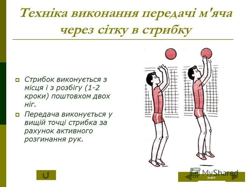 Техніка виконання передачі м'яча через сітку в стрибку Стрибок виконується з місця і з розбігу (1-2 кроки) поштовхом двох ніг. Передача виконується у вищій точці стрибка за рахунок активного розгинання рук. зміст