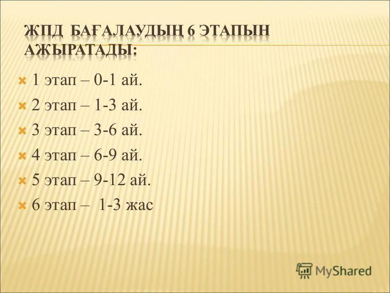 1 этап – 0-1 ай. 2 этап – 1-3 ай. 3 этап – 3-6 ай. 4 этап – 6-9 ай. 5 этап – 9-12 ай. 6 этап – 1-3 зас