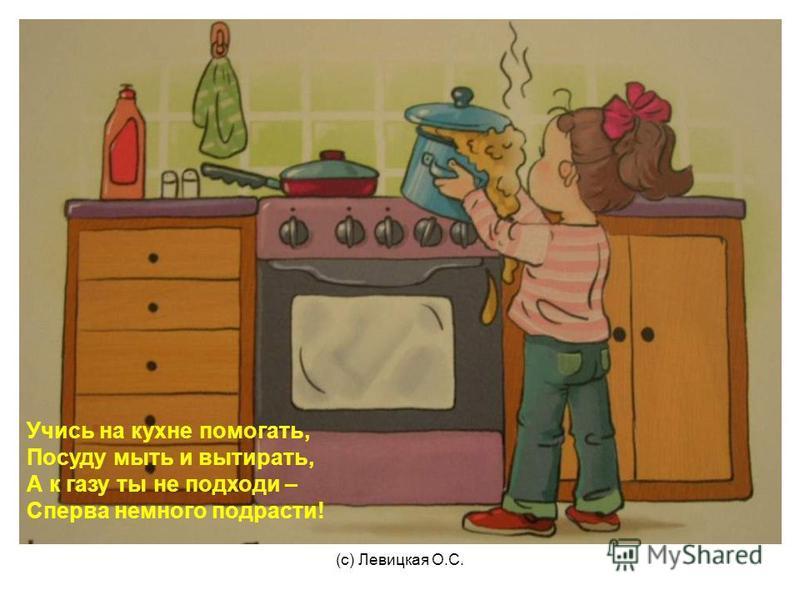 Учись на кухне помогать, Посуду мыть и вытирать, А к газу ты не подходи – Сперва немного подрасти!