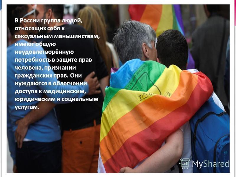 В России группа людей, относящих себя к сексуальным меньшинствам, имеют общую неудовлетворённую потребность в защите прав человека, признании гражданских прав. Они нуждаются в облегчении доступа к медицинским, юридическим и социальным услугам.