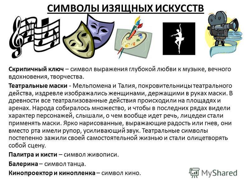 СИМВОЛЫ ИЗЯЩНЫХ ИСКУССТВ Скрипичный ключ – символ выражения глубокой любви к музыке, вечного вдохновения, творчества. Театральные маски - Мельпомена и Талия, покровительницы театрального действа, издревле изображались женщинами, держащими в руках мас