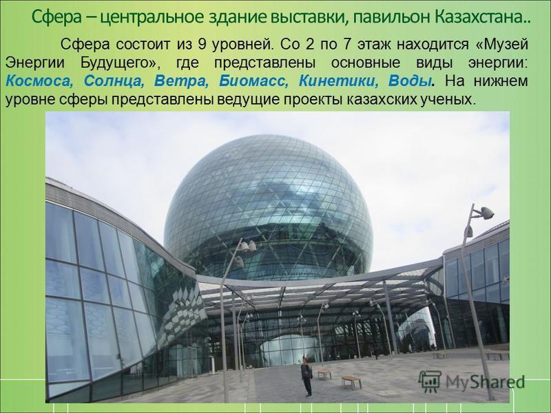 Сфера – центральное здание выставки, павильон Казахстана.. Сфера состоит из 9 уровней. Со 2 по 7 этаж находится «Музей Энергии Будущего», где представлены основные виды энергии: Космоса, Солнца, Ветра, Биомасс, Кинетики, Воды. На нижнем уровне сферы