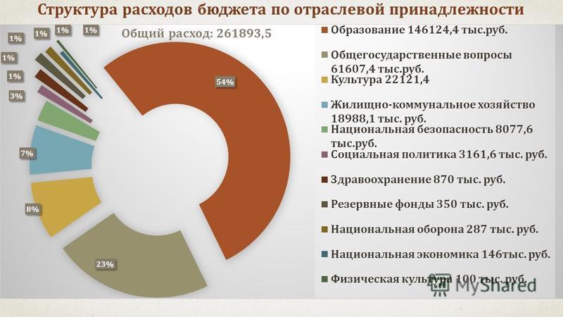 Структура расходов бюджета по отраслевой принадлежности