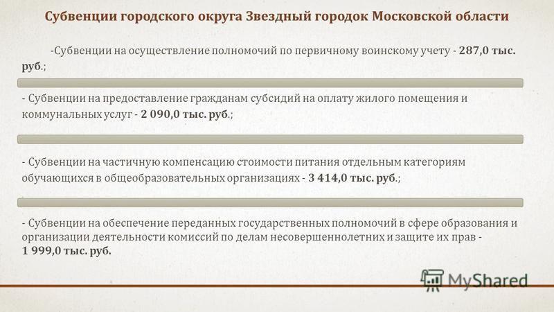 Субвенции городского округа Звездный городок Московской области -Субвенции на осуществление полномочий по первичному воинскому учету - 287,0 тыс. руб.; - Субвенции на предоставление гражданам субсидий на оплату жилого помещения и коммунальных услуг -