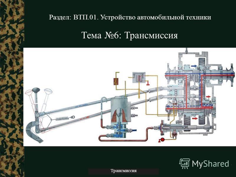 Трансмиссия Тема 6: Трансмиссия Раздел: ВТП.01. Устройство автомобильной техники