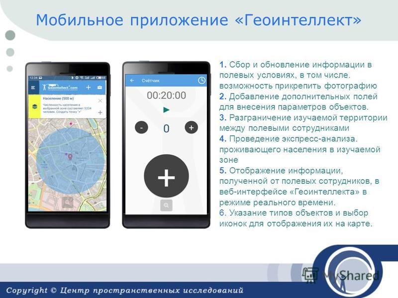 Мобильное приложение «Геоинтеллект» 1. Сбор и обновление информации в полевых условиях, в том числе. возможность прикрепить фотографию 2. Добавление дополнительных полей для внесения параметров объектов. 3. Разграничение изучаемой территории между по