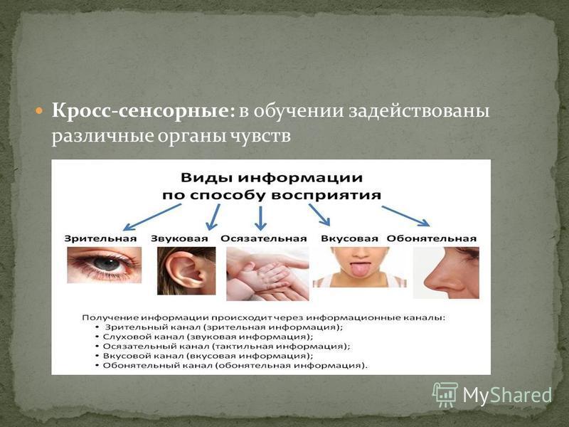 Кросс-сенсорные: в обучении задействованы различные органы чувств