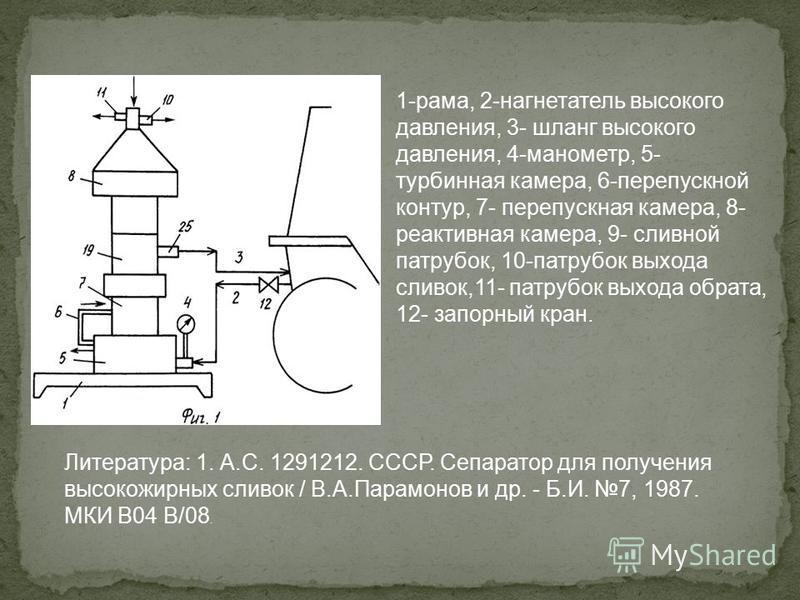 1-рама, 2-нагнетатель высокого давления, 3- шланг высокого давления, 4-манометр, 5- турбинная камера, 6-перепускной контур, 7- перепускная камера, 8- реактивная камера, 9- сливной патрубок, 10-патрубок выхода сливок,11- патрубок выхода обрата, 12- за