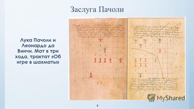 9 Лука Пачоли и Леонардо да Винчи. Мат в три хода, трактат «Об игре в шахматы» Заслуга Пачоли