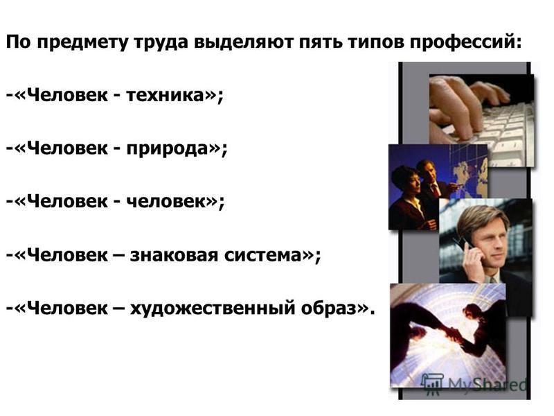 По предмету труда выделяют пять типов профессий: -«Человек - техника»; -«Человек - природа»; -«Человек - человек»; -«Человек – знаковая система»; -«Человек – художественный образ».