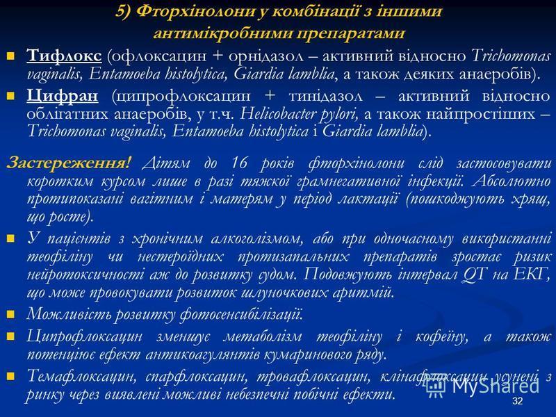 32 5) Фторхінолони у комбінації з іншими антимікробними препаратами Тифлокс (офлоксацин + орнідазол – активний відносно Trichomonas vaginalis, Entamoeba histolytica, Giardia lamblia, а також деяких анаеробів). Цифран (ципрофлоксацин + тинідазол – акт