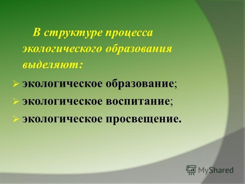 В структуре процесса экологического образования выделяют: экологическое образование; экологическое воспитание; экологическое просвещение.