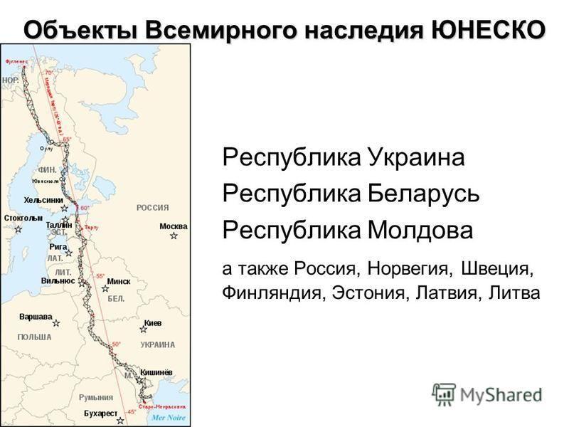 Республика Украина Республика Беларусь Республика Молдова а также Россия, Норвегия, Швеция, Финляндия, Эстония, Латвия, Литва Объекты Всемирного наследия ЮНЕСКО