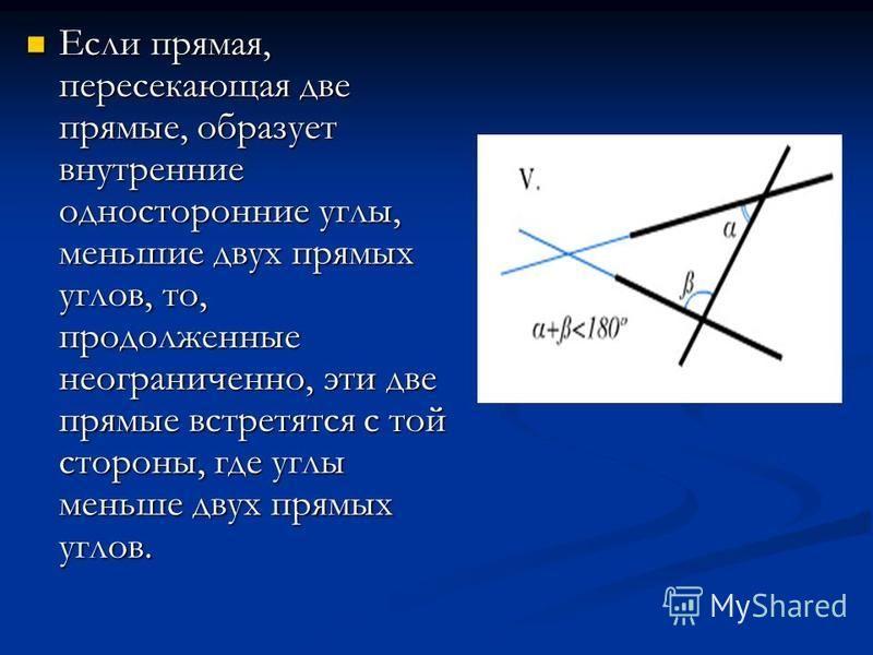 Если прямая, пересекающая две прямые, образует внутренние односторонние углы, меньшие двух прямых углов, то, продолженные неограниченно, эти две прямые встретятся с той стороны, где углы меньше двух прямых углов. Если прямая, пересекающая две прямые,