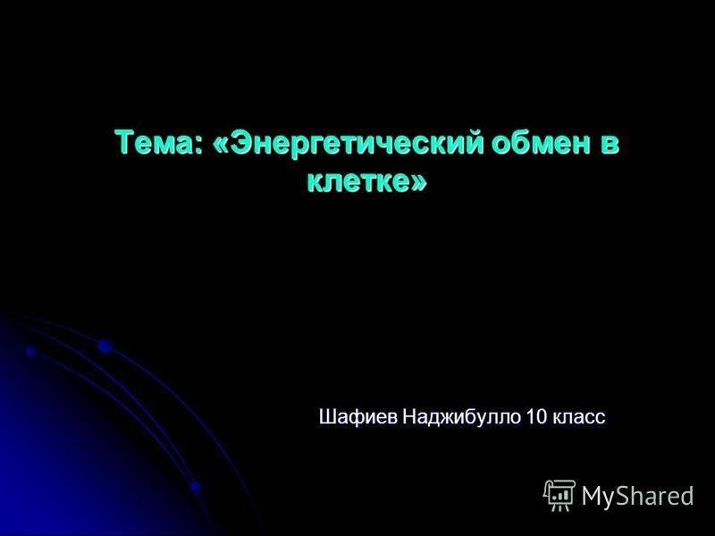 Тема: «Энергетический обмен в клетке» Шафиев Наджибулло 10 класс