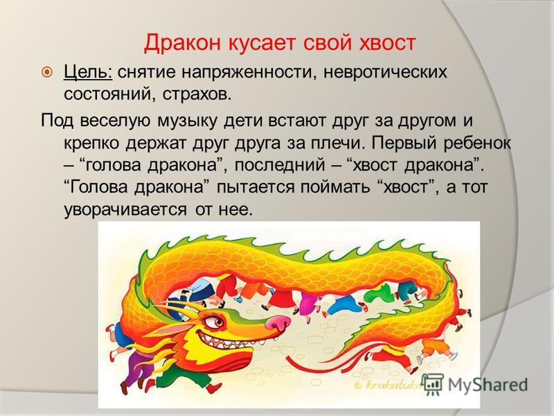 Дракон кусает свой хвост Цель: снятие напряженности, невротических состояний, страхов. Под веселую музыку дети встают друг за другом и крепко держат друг друга за плечи. Первый ребенок – голова дракона, последний – хвост дракона. Голова дракона пытае