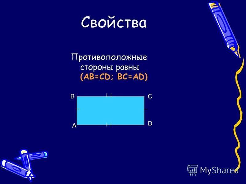 Свойства Противоположные стороны равны (AB=CD; BC=AD) A BC D