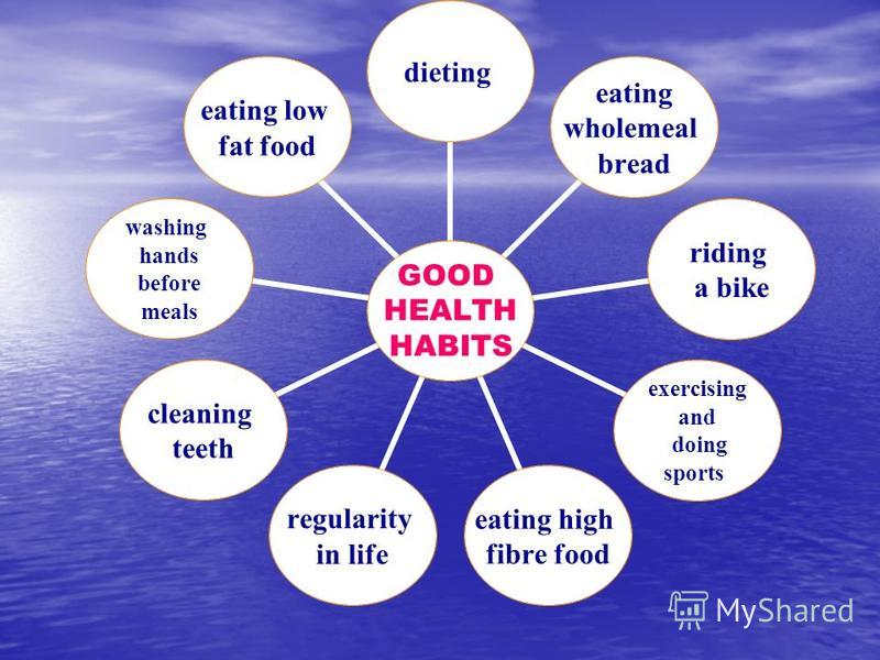 GOOD HEALTH HABITS dieting eating wholemeal bread riding a bike exercising and doing sports eating high fibre food regularity in life cleaning teeth washing hands before meals eating low fat food