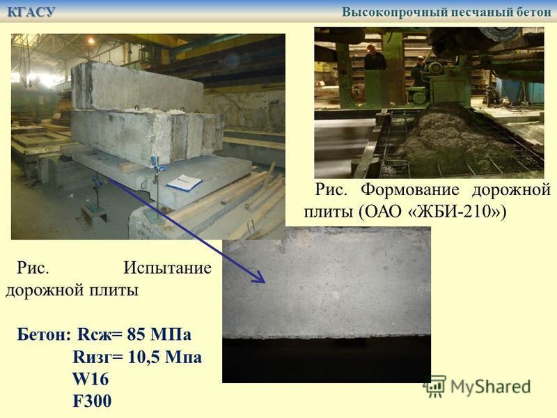 Рис. Испытание дорожной плиты Бетон: Rсж= 85 МПа Rизг= 10,5 Мпа W16 F300 Рис. Формование дорожной плиты (ОАО «ЖБИ-210») КГАСУ КГАСУ Высокопрочный песчаный бетон
