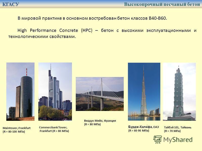 Maintower, Frankfurt (R = 80-100 МПа) Commerzbank Tower, Frankfurt (R = 80 МПа) Виадук Мийо, Франция (R = 80 МПа) Бурдж-Хали́фа, ОАЭ (R = 60-90 МПа) Тайбэй 101, Тайвань (R = 70 МПа) В мировой практике в основном востребован бетон классов В40-В60. Hig