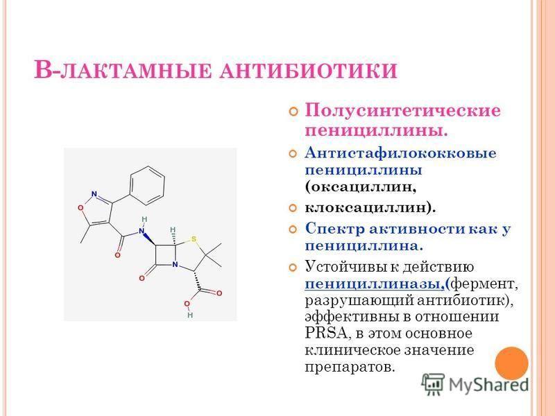 В- ЛАКТАМНЫЕ АНТИБИОТИКИ Полусинтетические пенициллины. Антистафилококковые пенициллины (оксациллин, клоксациллин). Спектр активности как у пенициллина. Устойчивы к действию пенициллиназы,(фермент, разрушающий антибиотик), эффективны в отношении PRSA