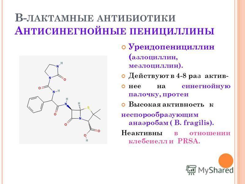В- ЛАКТАМНЫЕ АНТИБИОТИКИ А НТИСИНЕГНОЙНЫЕ ПЕНИЦИЛЛИНЫ Уреидопенициллин ( азлоциллин, мезлоциллин). Действуют в 4-8 раз актив- нее на синегнойную палочку, протеи Высокая активность к неспорообразующим анаэробам ( B. fragilis). Неактивны в отношении кл
