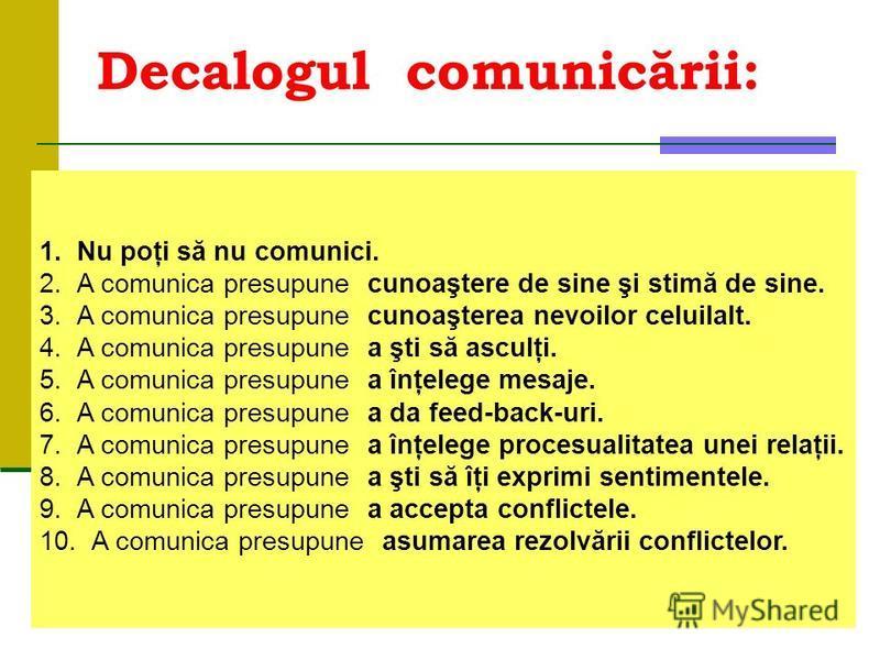 Decalogulcomunicării: 1.Nu poţi să nu comunici. 2.A comunica presupunecunoaştere de sine şi stimă de sine. 3.A comunica presupunecunoaşterea nevoilor celuilalt. 4.A comunica presupunea şti să asculţi. 5.A comunica presupunea înţelege mesaje. 6.A comu