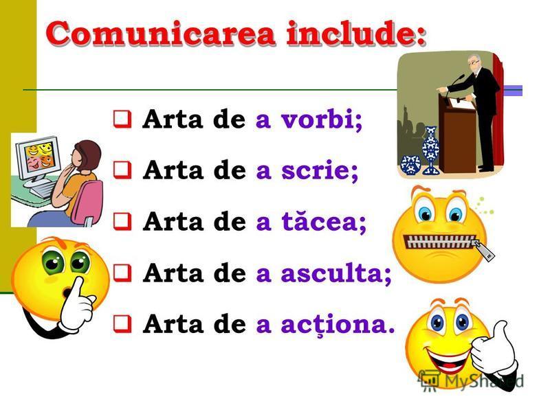 Comunicarea include: Arta de avorbi; Arta de a scrie; Arta de a tăcea; Arta de a asculta; Arta de a acţiona.