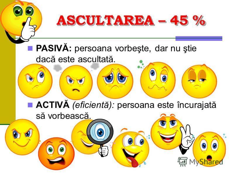 ASCULTAREA – 45 % PASIVĂ: persoana vorbeşte, dar nu ştie dacă este ascultată. ACTIVĂ (eficientă): persoana este încurajată să vorbească.