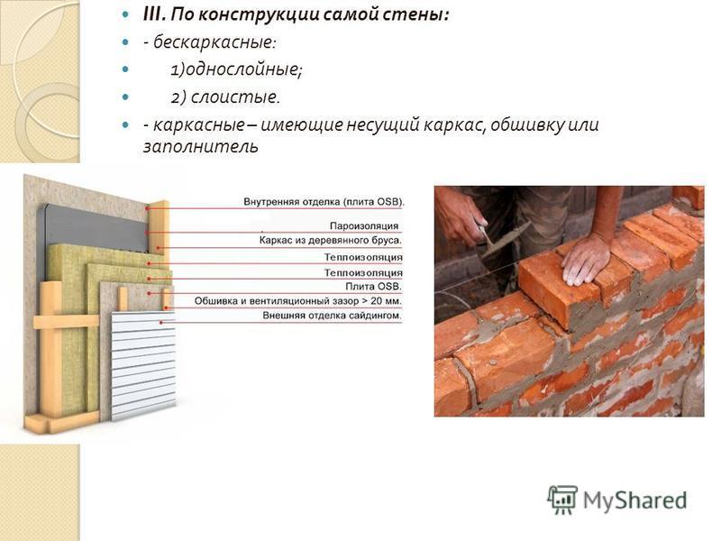III. По конструкции самой стены : - бескаркасные : 1) однослойные ; 2) слоистые. - каркасные – имеющие несущий каркас, обшивку или заполнитель