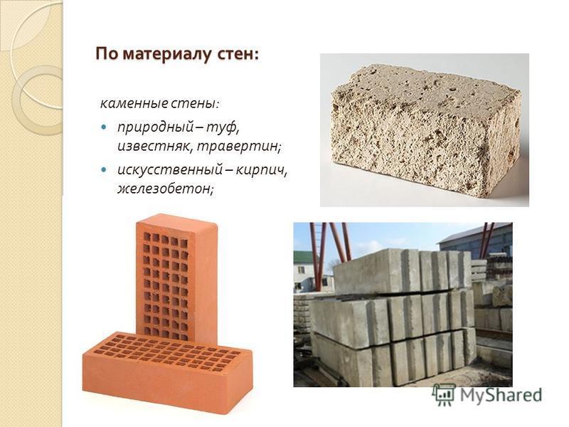 По материалу стен : каменные стены : природный – туф, известняк, травертин ; искусственный – кирпич, железобетон ;