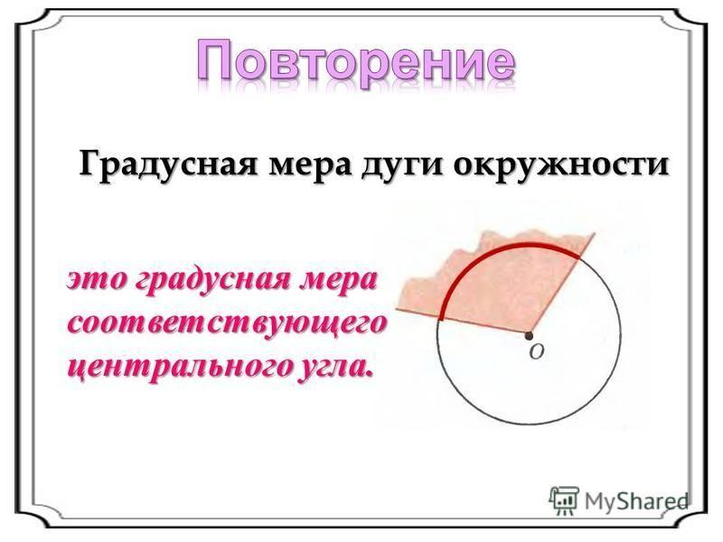 Градусная мера дуги окружности это градусная мера соответствующего центрального угла.