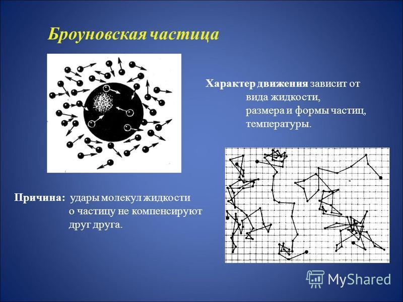 Причина: удары молекул жидкости о частицу не компенсируют друг друга. Характер движения зависит от вида жидкости, размера и формы частиц, температуры. Броуновская частица