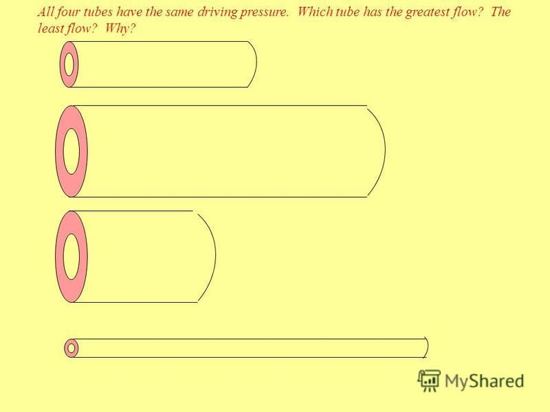 All four tubes have the same driving pressure. Which tube has the greatest flow? The least flow? Why?