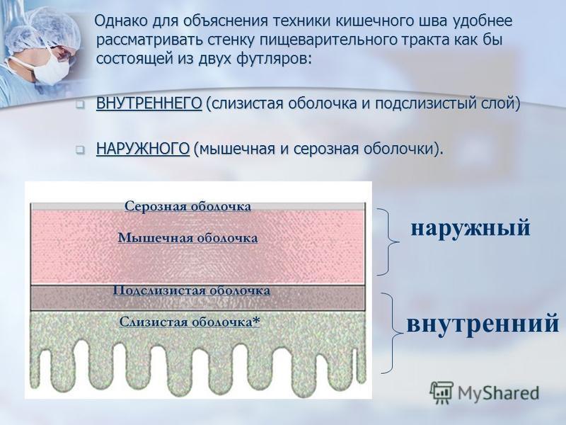 Однако для объяснения техники кишечного шва удобнее рассматривать стенку пищеварительного тракта как бы состоящей из двух футляров: Однако для объяснения техники кишечного шва удобнее рассматривать стенку пищеварительного тракта как бы состоящей из д
