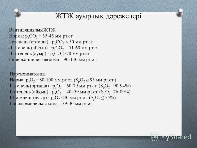 ЖТЖ аурылық дәрежелері Вентиляциялық ЖТЖ Норма: p a СO 2 = 35-45 мм рт.ст. I степень (орташа) - p a СO 2 < 50 мм рт.ст. II степень (айқын) - p a СO 2 = 51-69 мм рт.ст. III степень (ауры) - p a СO 2 >70 мм рт.ст. Гиперкапническая кома – 90-140 мм рт.с