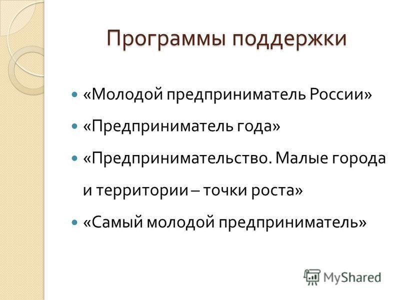 Программы поддержки « Молодой предприниматель России » « Предприниматель года » « Предпринимательство. Малые города и территории – точки роста » « Самый молодой предприниматель »