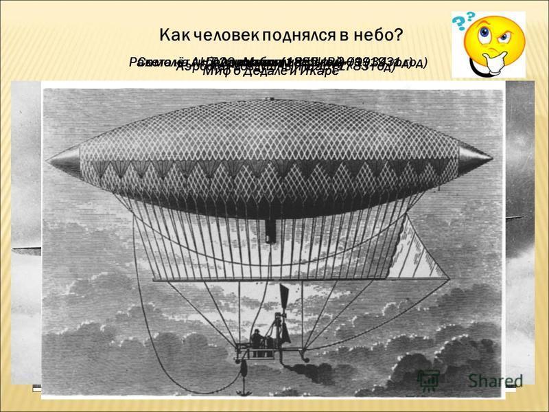 Как человек поднялся в небо? Миф о Дедале и Икаре Аэростат-воздушный шар (1783 год) Дирижабль (1852 год)Аэроплан (1885 год)Ракета на гибридном топливе ГИРД-09 (1931 год)Самолёт АНТ-20 «Максим Горький» (1934 год)