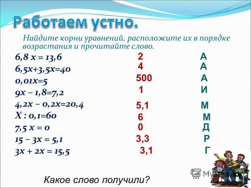 Найдите корни уравнений, расположите их в порядке возрастания и прочитайте слово. 6,8 х = 13,6 6,5 х+3,5 х=40 0,01 х=5 9 х – 1,8=7,2 4,2 х – 0,2 х=20,4 Х : 0,1=60 7,5 х = 0 15 – 3 х = 5,1 3 х + 2 х = 15,5 2 А 4 А 500 А 1 И 5,1 М 6 М 0 Д 3,3 Р 3,1 Г К