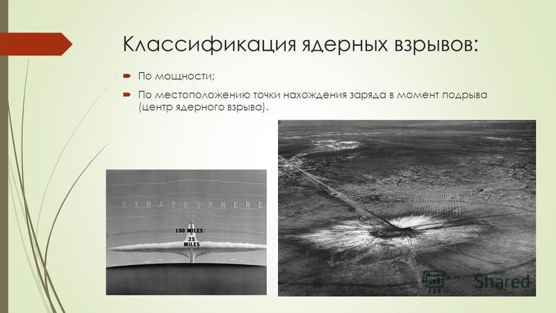 Классификация ядерных взрывов: По мощности; По местоположению точки нахождения заряда в момент подрыва (центр ядерного взрыва).