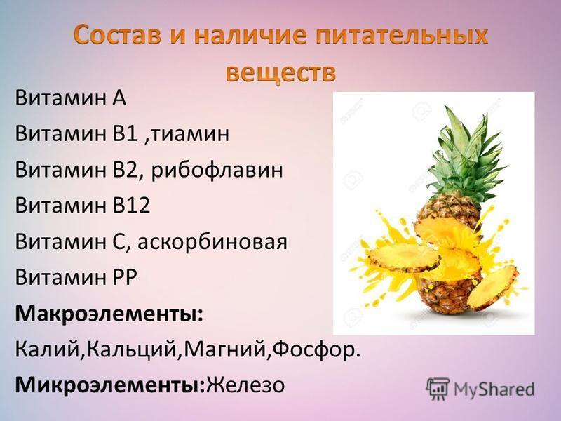 Витамин А Витамин В1,тиамин Витамин В2, рибофлавин Витамин В12 Витамин C, аскорбиновая Витамин РР Макроэлементы: Калий,Кальций,Магний,Фосфор. Микроэлементы:Железо