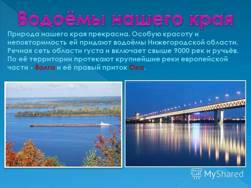 Природа нашего края прекрасна. Особую красоту и неповторимость ей придают водоёмы Нижегородской области. Речная сеть области густа и включает свыше 9000 рек и ручьёв. По её территории протекают крупнейшие реки европейской части - Волга и её правый пр
