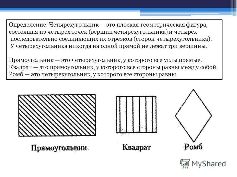 Определение. Четырехугольник это плоская геометрическая фигура, состоящая из четырех точек (вершин четырехугольника) и четырех последовательно соединяющих их отрезков (сторон четырехугольника). У четырехугольника никогда на одной прямой не лежат три
