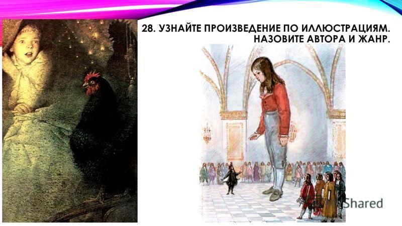 28. УЗНАЙТЕ ПРОИЗВЕДЕНИЕ ПО ИЛЛЮСТРАЦИЯМ. НАЗОВИТЕ АВТОРА И ЖАНР.