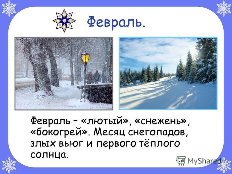 Февраль. Февраль – «лютый», «снежень», «бокогрей». Месяц снегопадов, злых вьюг и первого тёплого солнца.
