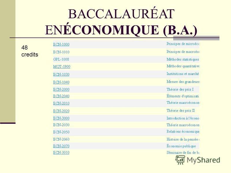 BACCALAURÉAT ENÉCONOMIQUE (B.A.) 48 credits